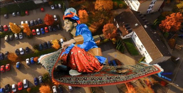 Am samstag, 7. November, kann man mit dem fliegenden Teppich über das Kloster gleiten - zumindest sieht es so aus. Screenshot: SMMP