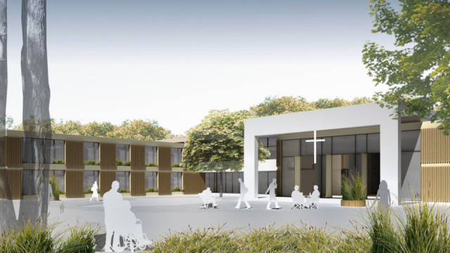Diese Grafik des Architekturbüros Maas und Partner zeigt, die das neue Haus St. Martin in Herten-Westerholt aussehen soll. Auch eine Kapelle gehört mit dazu.