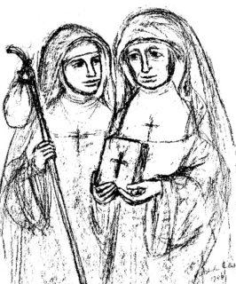 Maria Magdalena Postel und Placida Viel in einer Zeichnung von G. Büscher-Eilert.