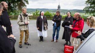 Pressegespräch am Mittwochvormittag: Die Ordensleute geben Auskunft über die Idee des Klosterweges. Foto: SMMP/Bock