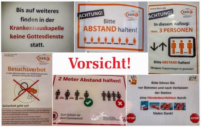 Überall Warnhinweise und Restriktionen: Schwester Bernadette Maria Blommel hat einige Schilder aus dem Dorstener Krankenhaus abfotografiert.