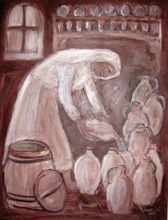 Schwester Martha le Bouteiller im Cidre-Keller. Eine Darstellung von Gertrud Büscher-Eilert aus dem Bergkloster Bestwig.